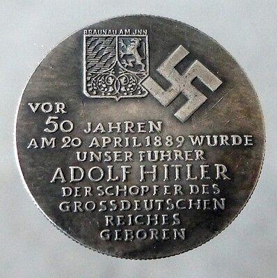GERMAN COIN ADOLF HITLER BIRTHDAY 50 JAHRE WW2 THIRD REICH SILVERED