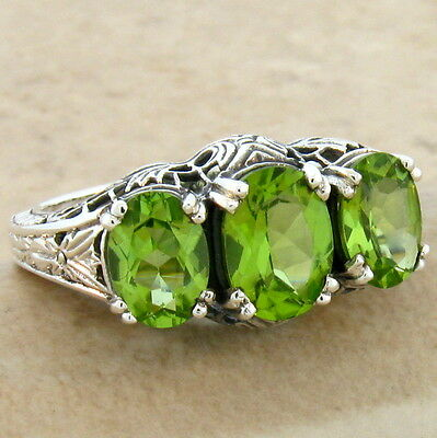 (GENUINE PERIDOT 3 STONE 925 STERLING SILVER ART DECO RING SIZE 8.75,  #370)