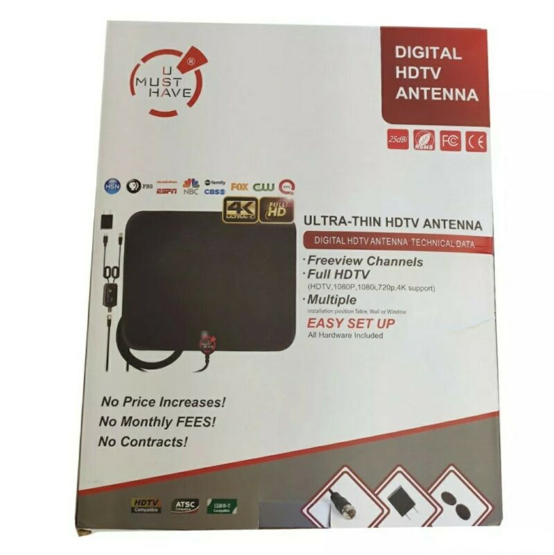 Amplified HD Digital TV Antenna Long 120 Miles Range Supports 4K 1080p