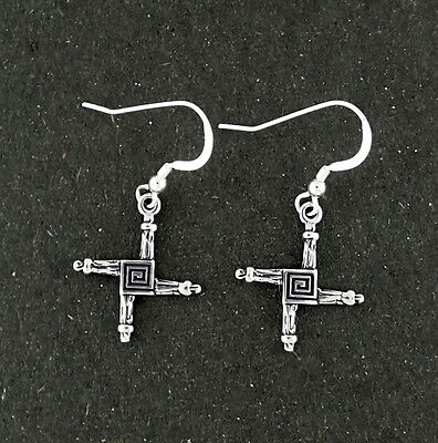 St  Brigids Cross Earrings Sterling Silver Religious Symbol