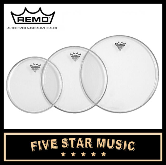 """REMO EMPEROR CLEAR 3 PCE DRUM SKIN ROCK TOM SET 12"""" 13"""" 16"""" HEADS NEW"""