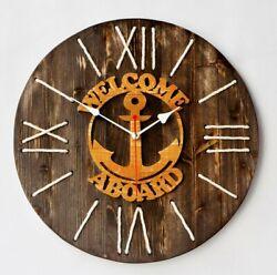 Wooden wall clock Cabin clock Wood hanging clock Enjoy the wood Rope clock