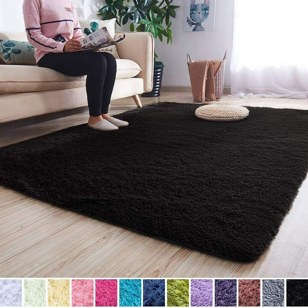 Soft Modern Shag Area Rugs Fluffy Living Room Carpet Comfy B