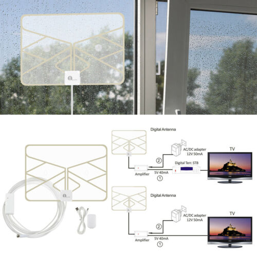 1byone 50 Miles Indoor HDTV Amplified HD TV Signal Antenna A