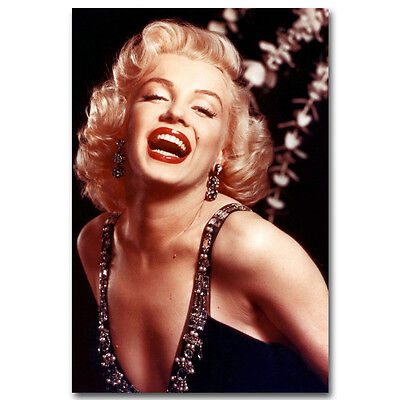 Marilyn Monroe Red Lips Vintage Movie Star Sexy Silk Canvas Poster Print 002