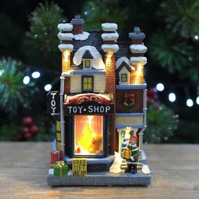 "7"" Christmas White LED Musical Winter Village Toy Shop Ornament Decoration Xmas"