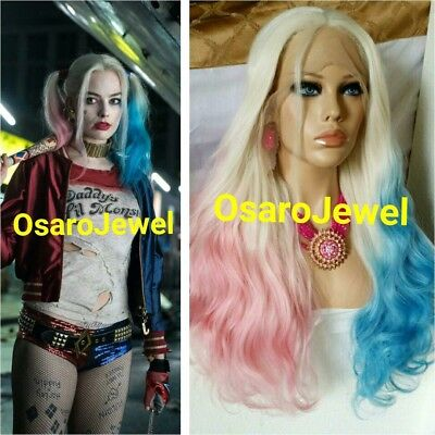 Harley Quinn Blonde Hair (Suicide Squad Harley Quinn Hair  Lace Front Wig. Pink Blue Blonde)