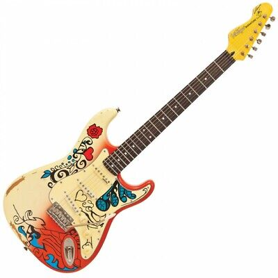 Vintage Icon V6 'Thomas Blug' Summer of Love Electric Guitar (Reverse Headstock)
