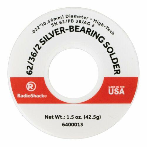 """SnPbAg 62/36/2 Silver-Bearing Rosin-Core Solder, 0.022"""" Diameter - 1.5 oz. - USA"""