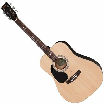Encore Left Handed Dreadnought Style Acoustic Guitar FREE ONLINE LESSONS Natural