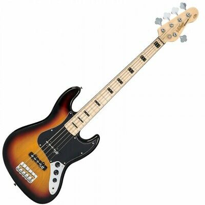 Vintage VJ75MSSB Reissue Bass Guitar In Sunset Sunburst, Maple Fingerboard