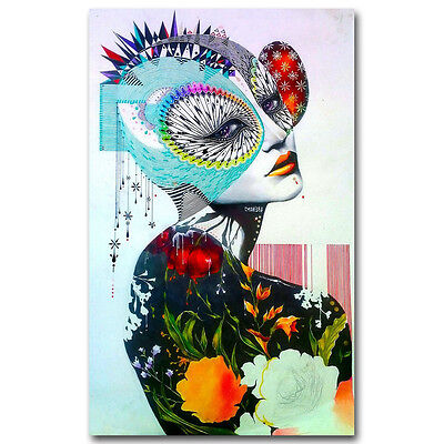 Trippy Psychedelic Abstract Girl Art Silk Poster Prints 13x20 inches  J431
