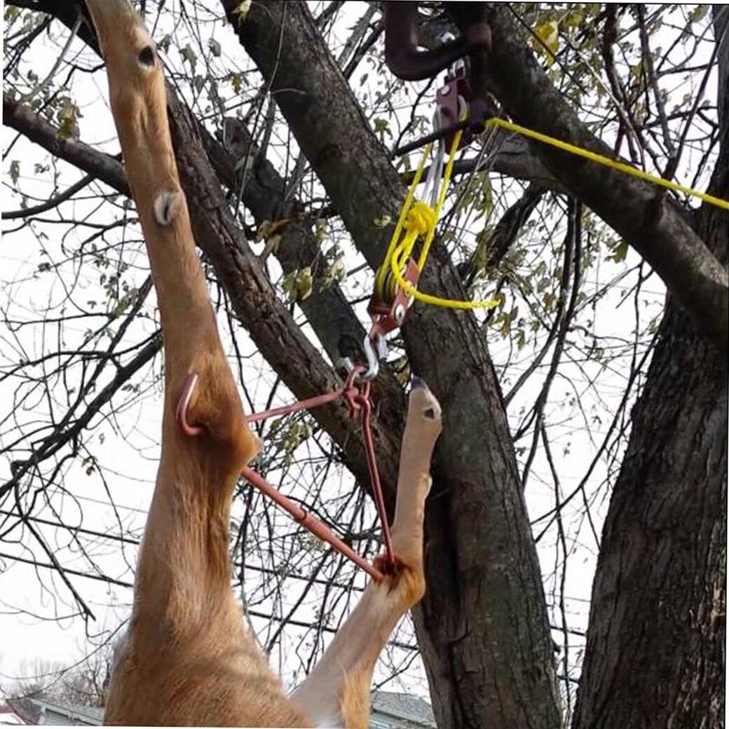 Details about Tourbon Hunting Gambrel Hoist Kit Game Hog Hanger Gutting  Pulley&Rope Deer 440lb