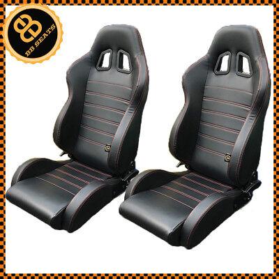 Pair BB4 Reclining Tilting Bucket Sports Seats Black / Red Universal 3 Series