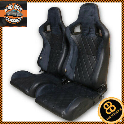 BB6 Reclining Titling Bucket Sports Racing Seats Diamond Stitched / Alcantara