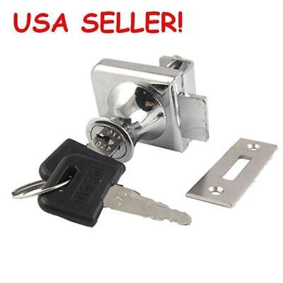 Glass Cabinet Single Door Cylinder Rim Security Lock with keys USA SELLER