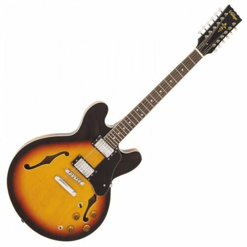 Vintage VSA500 12 String Reissued Semi Acoustic Hollow Guitar - Sunburst