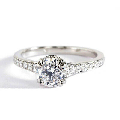 1.05 Cts SI2 H Round Double Prong Diamond Pave Engagement Ring 18K-White Gold ()