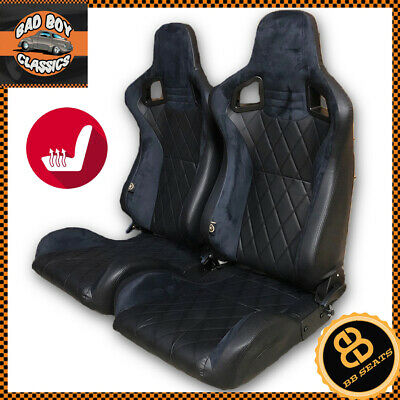 Heated BB6 Reclining Bucket Seats Black / Diamond Stitch Alcantara Suede Pair