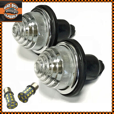 x2 Classic Car Clear Front Rear Indicator Lamps Lights + LED Bulbs Lucas Type
