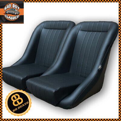 Pair BB1 Clubman Classic Car Bucket Sports Seats Black Soft Grain Vinyl