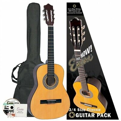 Encore 3/4 Size Classical Acoustic Guitar Outfit Childrens Kids Starter Pack