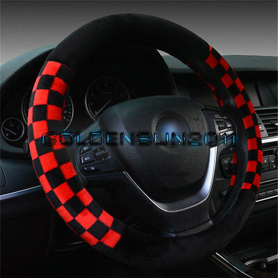 "Fashion Grid Flocking Auto Car Steering Wheel Cover Grip Red / Black 15"" 38CM"