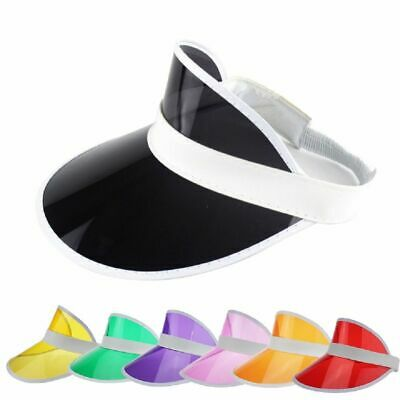 US Womens Outdoor Sports Tennis Summer Beach Colored Plastic Clear Sun Visor Hat