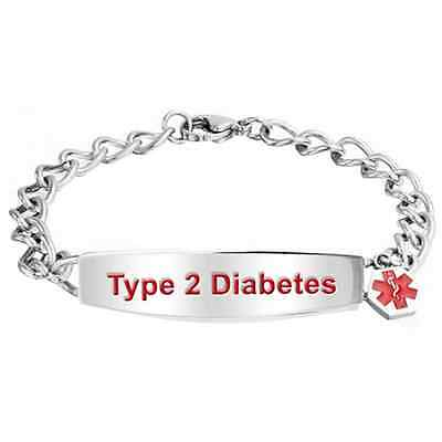 Type 2 Diabetes Medical Alert Sos Stainless Steel Bracelet   One Size Fits All