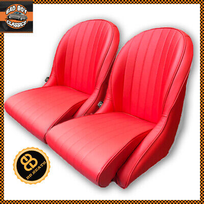 Pair Red BB Vintage Classic Bucket Seats Low Rounded Back Ideal FROGEYE SPRITE
