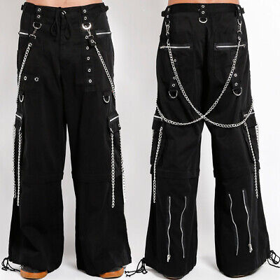 Halloween Music Cartoon (Tripp Punk Rave Goth Zipper Chains Bondage Straps Mens Pants Shorts Black)