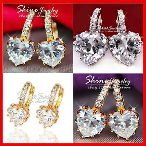 9K-YELLOW-ROSE-WHITE-GOLD-GF-LOVE-HEART-DIAMOND-HOOP-HUGGIES-SOLID-LADY-EARRINGS