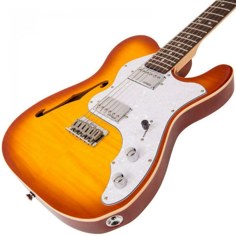 VINTAGE Reissued Electric Guitar - V72HFTB Flamed Tobacco Burst – New
