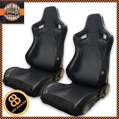 Pair BB6 RS Universal Design Reclining Titling Bucket Sports Racing Seats BLACK