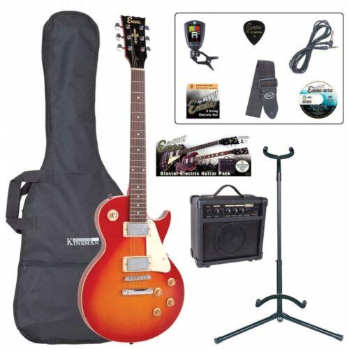 Encore E99 Les Paul Electric Guitar Gloss Black Guitar Package - Cherry Sunburst