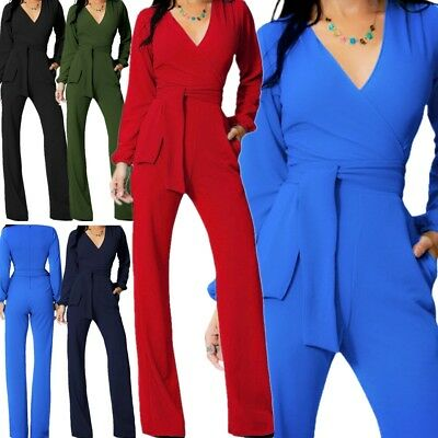 Women Jumpsuit Romper Long Sleeve Pants Playsuit Clubwear Trousers Dress Outfit