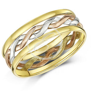 Celtic Ring 9ct Gold 3 Colour Hand Made 6mm Wedding Ring Band