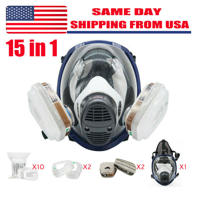Full Face Respirator 15 in 1 Gas Mask For Spraying Painting Chemicals Safety