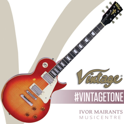 Vintage V100 Icon Electric Guitar - Distressed Cherry Sunburst V100MRCS