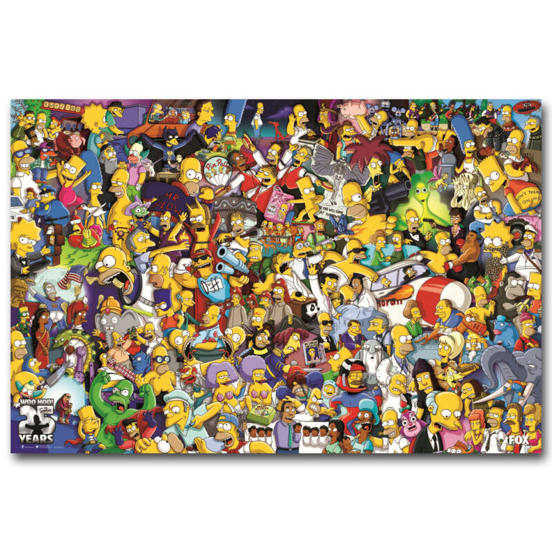 The Simpsons All Characters Cartoon Art Silk Canvas Poster 12x18 24x36 inch