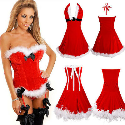 Christmas Sexy Women Santa Xmas Fancy Dress Overbust Top Corset Bustier Costumes - Santa Dress Women