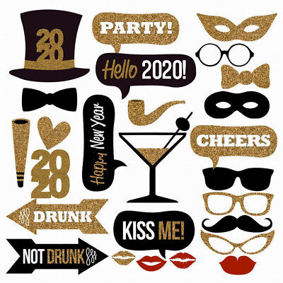 26PCS 2020 New Year's Eve Party Card Masks Photo Booth Props Supplies US SHIP](New Years Eve Masks)