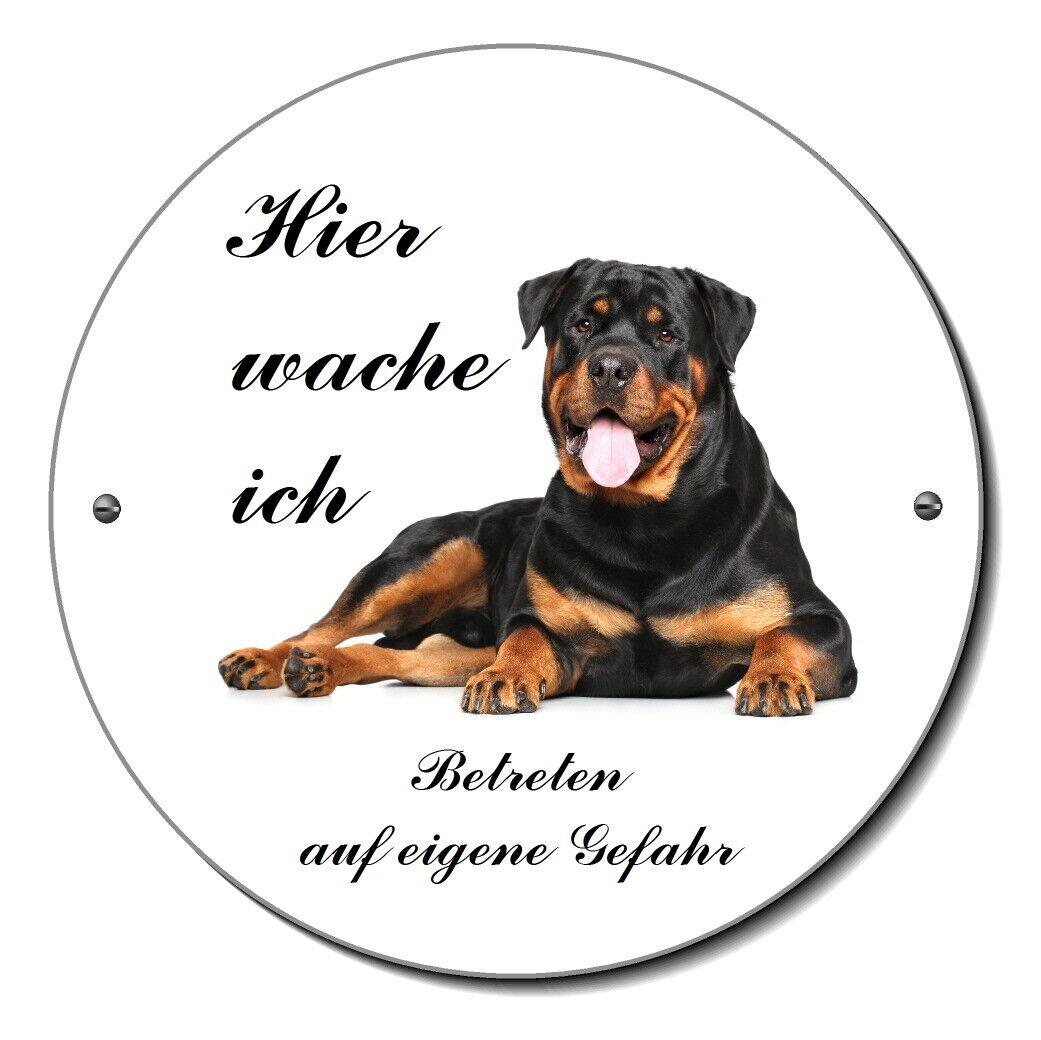 Rottweiler-Hund-Alu. Rund-Schild-120 mm Ø-------Türschild-Warnschild-Hundeschild