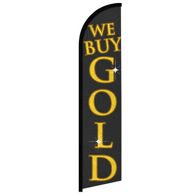 We Buy Gold Full Curve Windless Swooper Advertising Flag Se Compra Oro Pawn