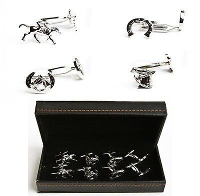 Horse Jockey Horseshoe Bridle 4 Pairs Cufflinks Wedding Fancy Gift Box