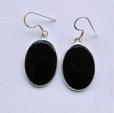Onyx Ohrringe in 925 Sterlingsilber, schwarze Edelstein Ohrhänger in Silber,oval ()