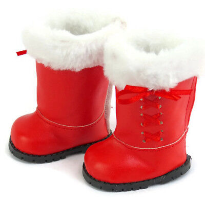 Red Boots w/Fur & Laced Ribbon Trim Shoes for 18
