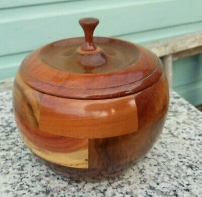 Handmade Wooden Pot Or Urn With Lid Turned Wood Jar