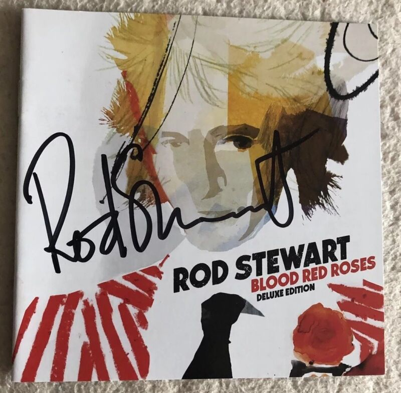 AUTOGRAPHED Rod Stewart Blood And Roses Deluxe CD With Signed Booklet