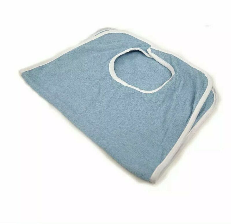 """(12-Pack) 18"""" X 30"""" Terry Adult Bibs Clithing Protector Blue White"""